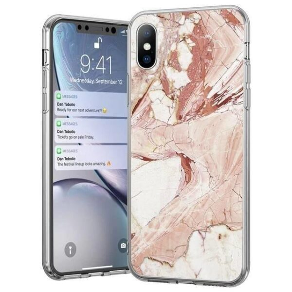 Marble TPU case cover for iPhone 12 mini pink